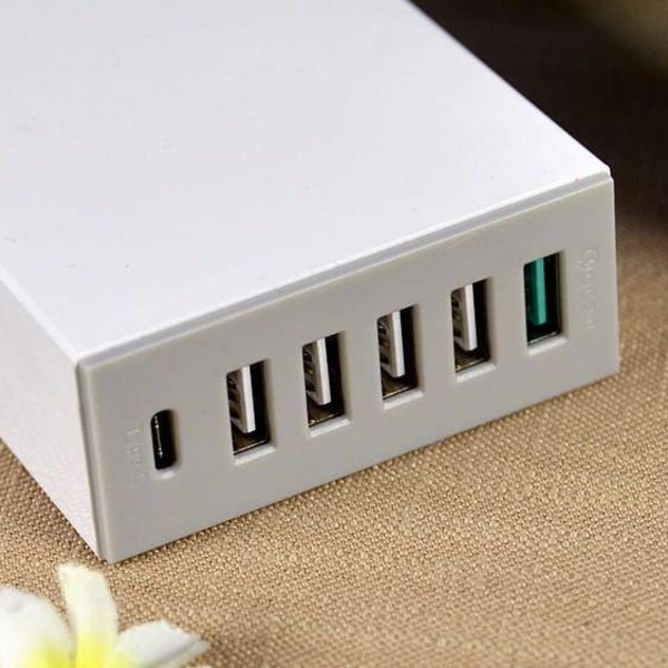 Orico Tischplattenaufladeeinheit mit Quick Charge 2.0 mit 5-Typ-A-USB-Ladeports und ein Typ-C USB-Ladeanschluss - bis 50W - white