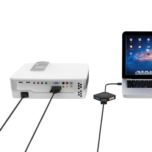 Orico Mini Displaypoort naar HDMI, DVI en VGA Adapter - 4K - 17 cm - Zwart