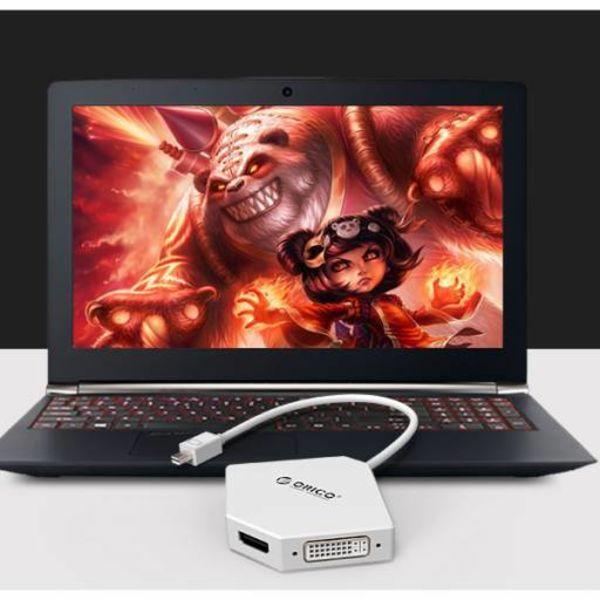 Orico Mini Displaypoort naar HDMI, DVI en VGA Adapter - 4K - 17 cm - Wit