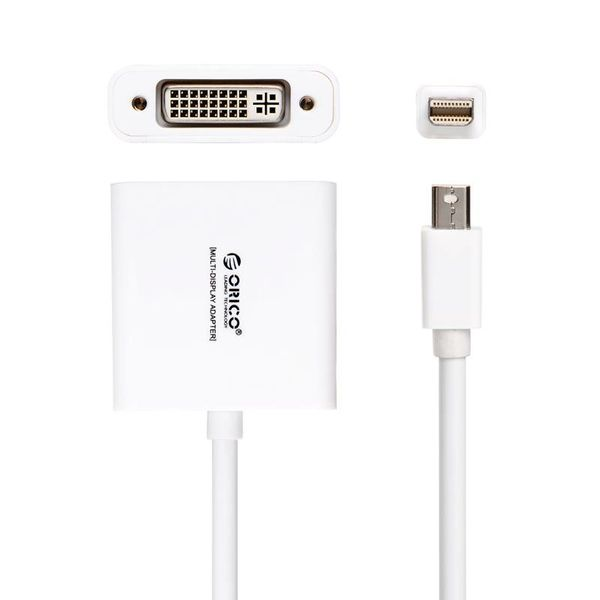 Orico Mini Display Port to DVI Adapter - 1080P - For MacBook, MacBook Pro and MacBook Air - Gold-Plated - 17CM Cable - White