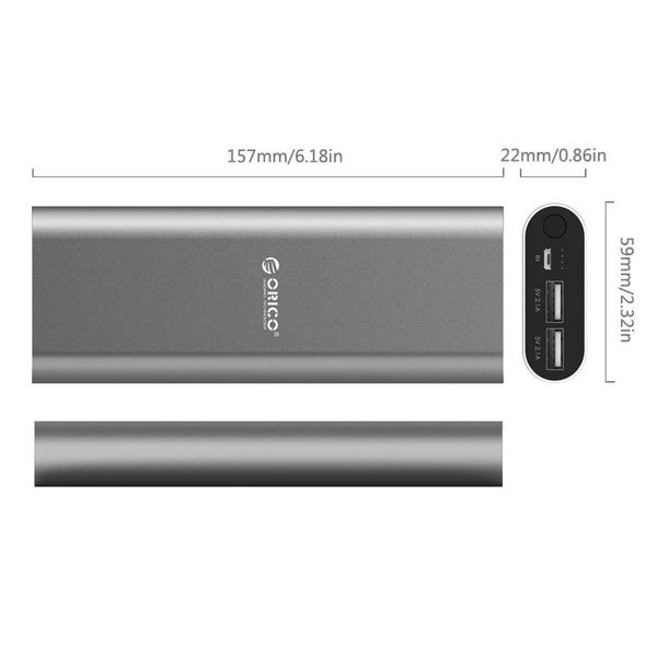 Orico Aluminium Powerbank 20000mAh - 2x Smart Charge USB-laadpoorten - Intelligente Chip - LED-indicator - Titanium Bruin
