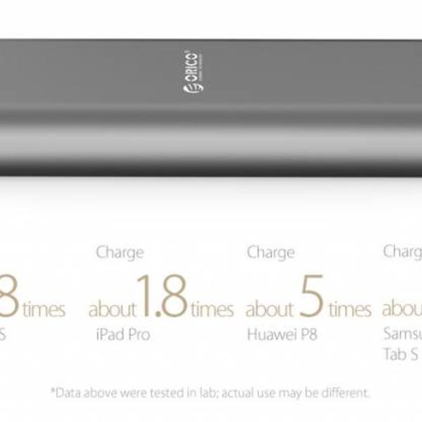 Orico Aluminium-Energien-Bank 20000mAh - 2x Smart Charge USB-Ports Lade - Intelligente Chip - LED-Anzeige - Titanium Brown