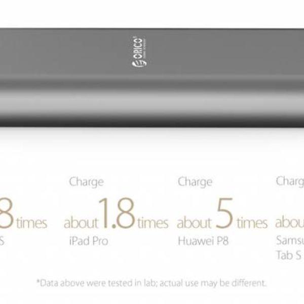 Orico Aluminium Power Bank 20000mAh - 2x ports de charge intelligente de charge USB - Chip Intelligent - Indicateur LED - Titanium Brown
