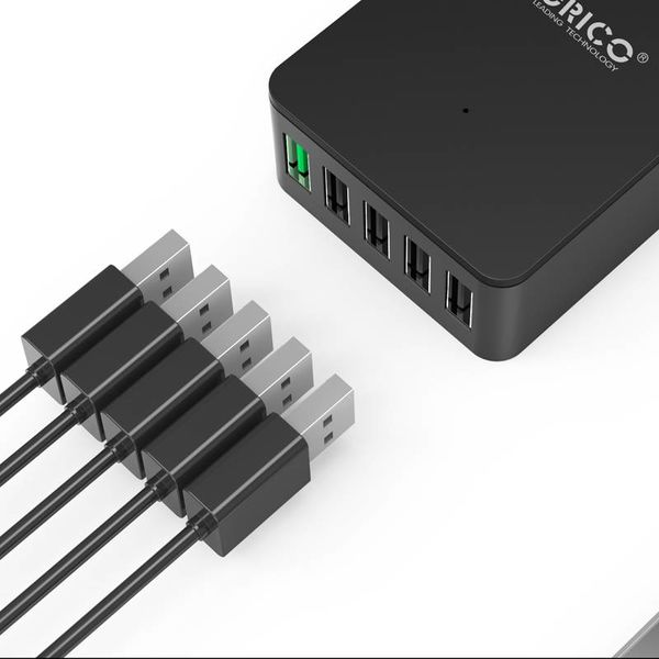 Orico bureaulader met Quick Charge 2.0 met vijf USB-laadpoorten – 2.4A per poort – tot 40W - zwart