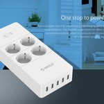 Orico power strip with four outlets and five USB charging ports - 4000W - white