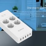 Orico prise avec quatre prises et cinq ports de charge USB - 4000W - Blanc