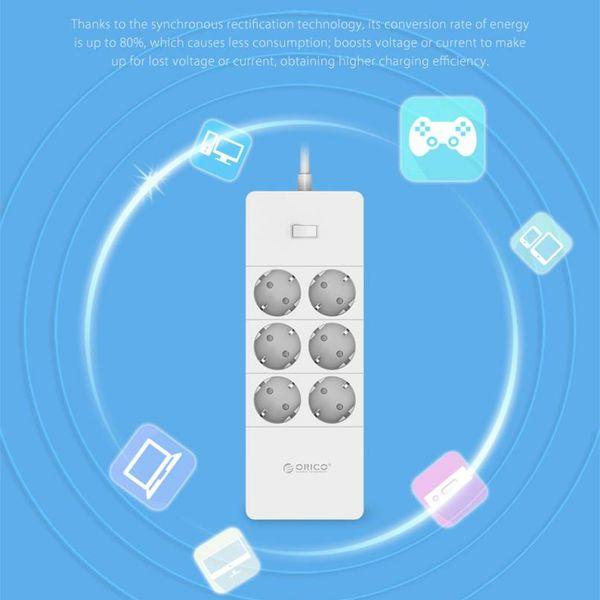Orico Steckdosen mit sechs und fünf USB-Ladeanschlüsse - 4000W - White