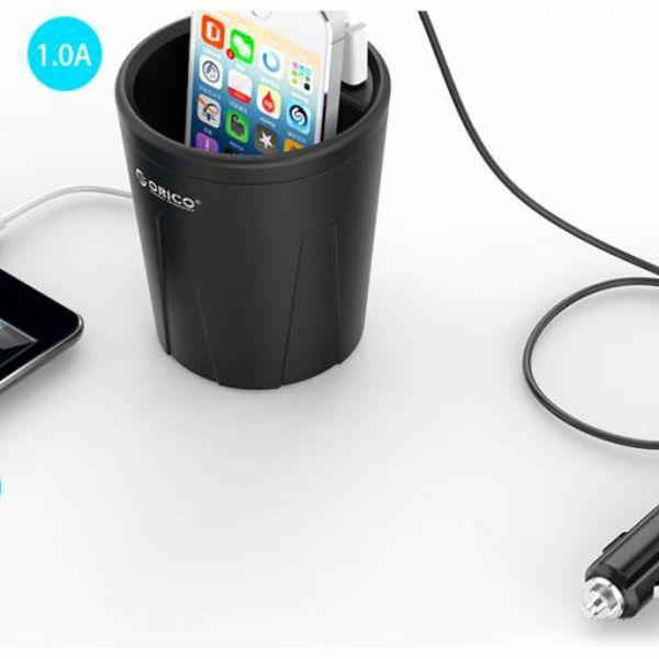 Orico 3 poort USB autolader beker 12V – zwart