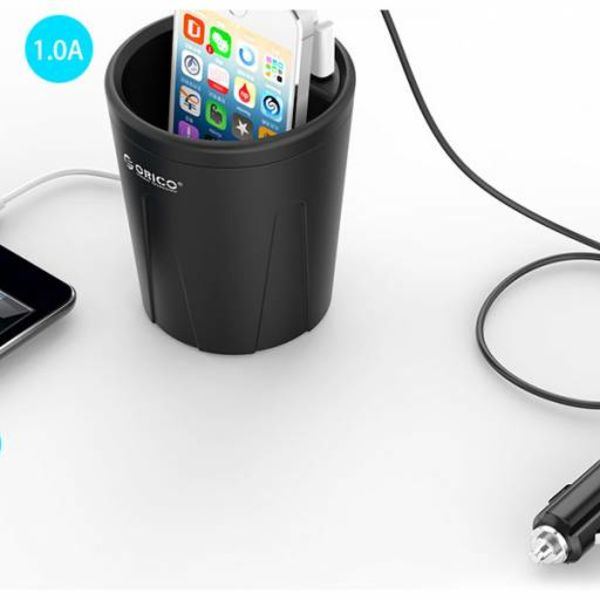 Orico 3 port USB car charger cup 12V - black