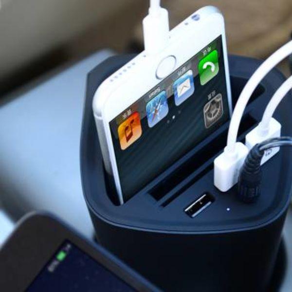 Orico 3-Port USB-Autoladegerät mit 12V Sitz und Becherhalter - schwarz