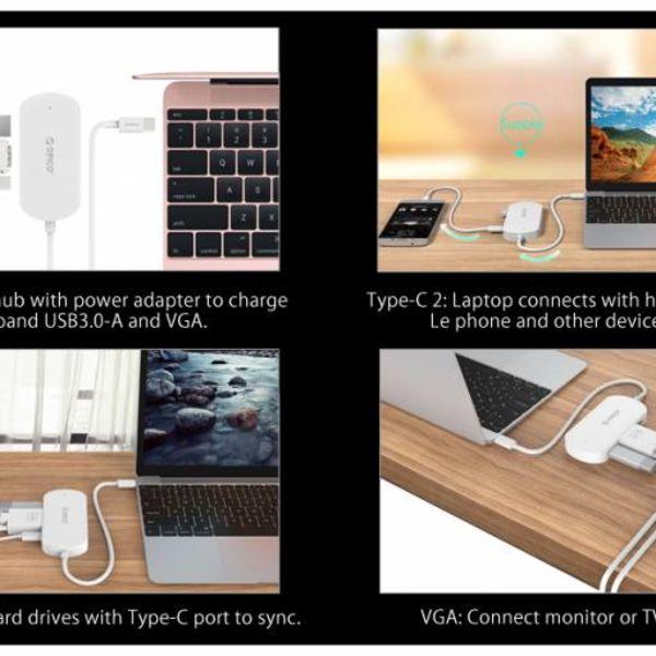 Orico 3-in-1 Type-C hub met USB 3.0 Type-A, Type-C PD en VGA poorten - Power Delivery - IC chip - Kabellengte 30 CM - Zwart