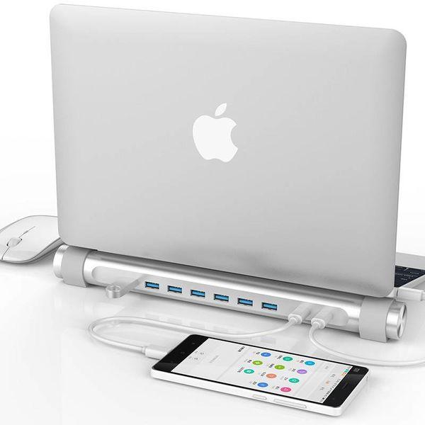 Orico USB3.0 Typ-C-Hub mit sieben Typ-A-Gates - 1x Typ-C PD - 5 Gbps - Laptop-Ständer - silber