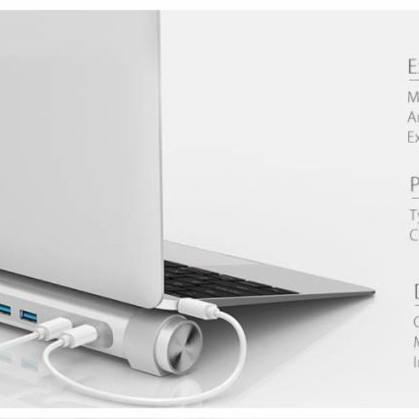 Orico USB3.0 type-C hub met zeven type-A poorten - 1x type-C PD - 5Gbps - laptop stand - zilver
