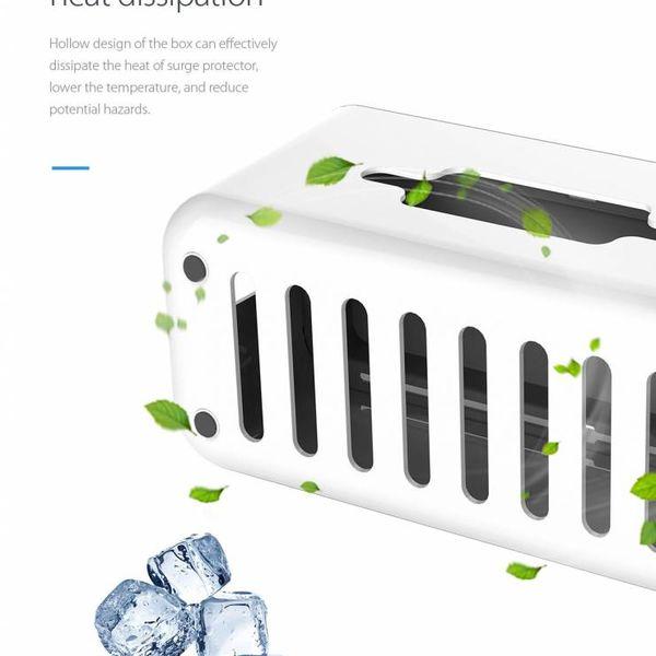 Orico Protecteur prise multifonction - Support Smartphone - Gestion des câbles - Sécurité supplémentaire pour les enfants / Animaux - Matériau résistant à la chaleur ABS - Blanc / Gris
