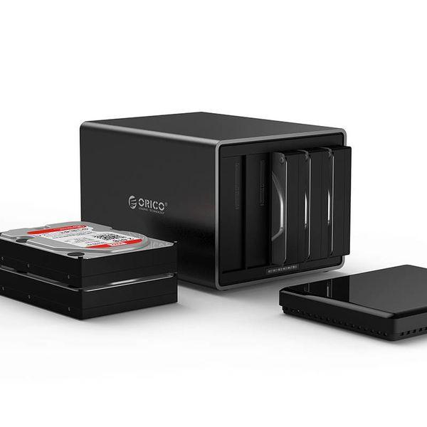Orico 5 Magneten Bay Typ-C-Festplattengehäuse 3,5-Zoll-SATA HDD / SSD-Dockingstation schwarz
