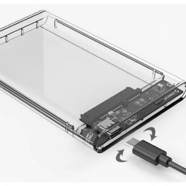 Orico 2,5-Zoll-Festplattengehäuse - Typ C - USB3.0 - SATA III - 5 Gbps - UASP - ABS - Transparent