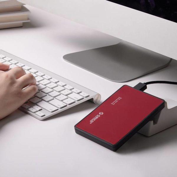 Orico Festplattengehäuse 2,5 Zoll - HDD / SSD - USB3.0 - aus Metall und Kunststoff - Rot