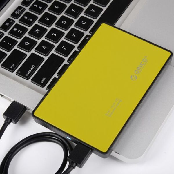 Orico Hard Drive Enclosure 2.5 inch - HDD / SSD - USB3.0 - Metal & Plastic - Yellow
