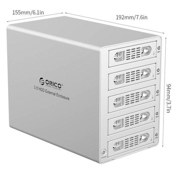 Orico Aluminum Hard Drive Case for five 3.5 inch Hard Drives - USB3.0 - eSATA - 5Gbps - 150W - 40TB - Mac Style - Silver Metallic