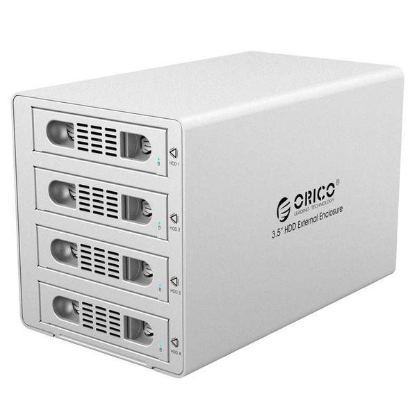 Orico Aluminium Harde Schijf Behuizing voor Vier 3.5 inch Harde Schijven - USB3.0 - eSATA - 5Gbps - 150W - 32TB - Mac Style - Zilver Metallic