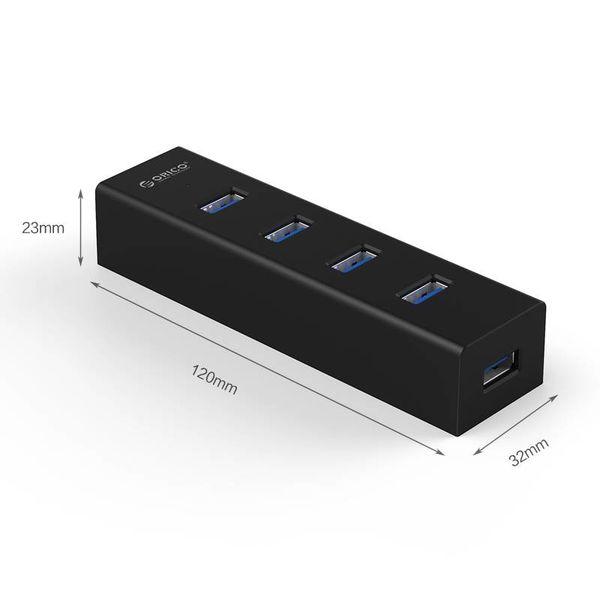 Orico Matzwarte USB3.0 Hub met 4 type-A Poorten - voor Windows XP/Vista/7/8/8.1/10, Linux en Mac OS - 5Gbps - VIA-chip