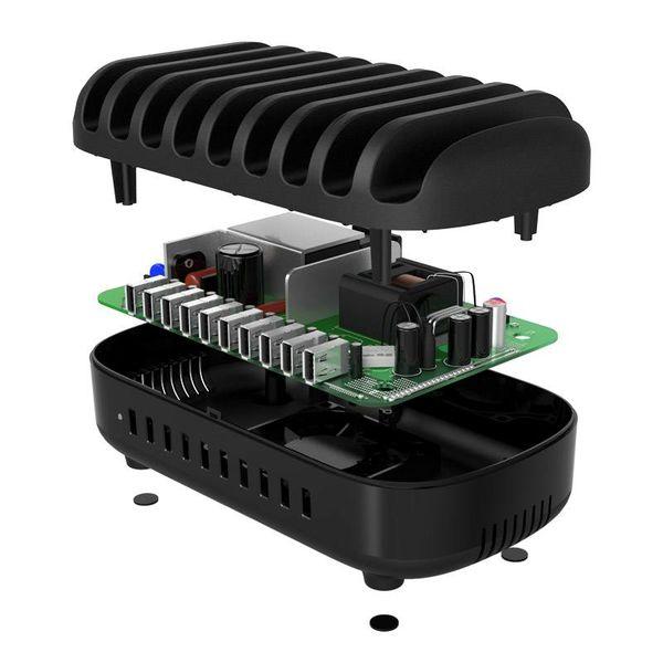 Orico Multi Charger Docking Station met 10 poorten – Oplaadstation voor Tablets en/of Smartphones – 120W – 2.4A/5V per poort - Zwart