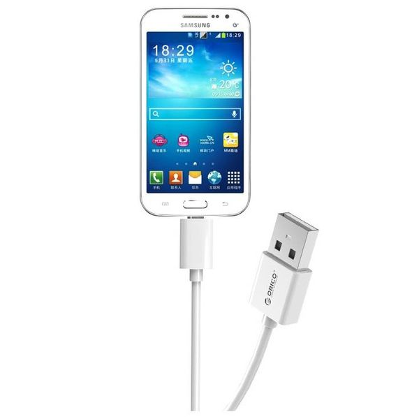 Orico 2 Meter Extra Long Charging Cable - 3 Amps - Fast Charge - Data transfer - Micro USB - White