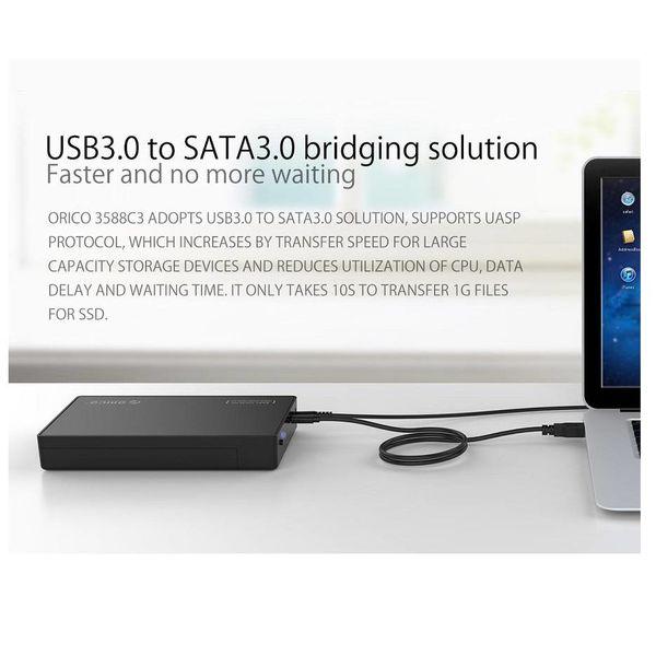 Orico 3,5-Zoll-Festplattengehäuse - Typ-C-Stecker - SATA III - USB3.0 - 5 Gbps - HDD / SSD - einschließlich Typ C ein Datenkabel an Typ -. Incl. Leistung - Matt Black