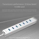 Orico Aluminium USB3.0 Hub met zeven Type-A poorten – 5Gbps – VIA-chip – werkt met Windows, Linux en Mac OS - Mac Style - incl. 10W Stroomadapter/1M Datakabel – Zilver