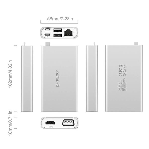 Orico USB adaptateur de type C - Multifonctionnel - 5in1 - 4k HDMI - VGA - Ethernet - Power Delivery - USB 3.1 gen1 - 5Gbps