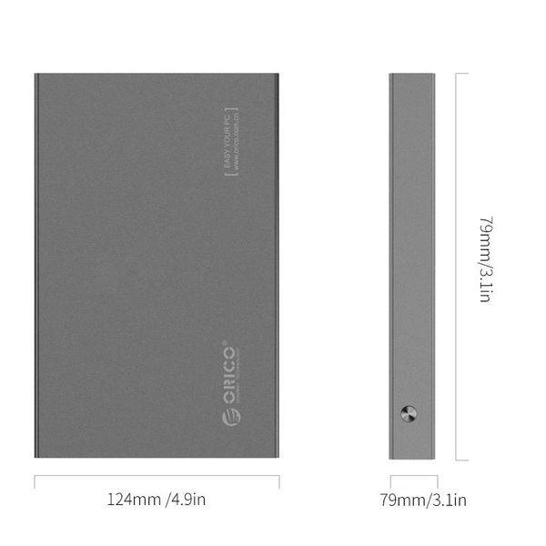 Orico Aluminium 2,5 pouces disque dur du boîtier - HHD / SSD - USB3.0 - 5 Gbps - SATA III - VIA puce - Incl. Vis et tournevis - Gris foncé
