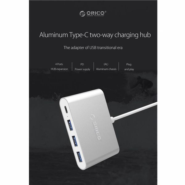 Orico Aluminium Typ-C-Hub mit Power Delivery - 3 x USB 3.0 Typ A - Mac Style - 5 Gbps - 15 cm Kabel - Silber