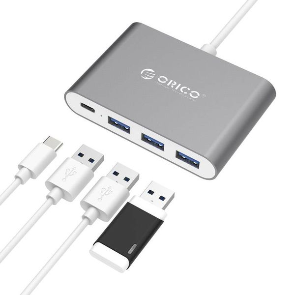 Orico Aluminium type-C Hub met Power Delivery - 3 x USB3.0 Type-A - 5Gbps - 15 CM Kabel - Donkergrijs