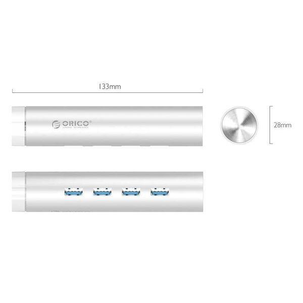 Orico Aluminium USB3.0-Hub mit 4 Ports Typ A - Typ C und Typ-A -5Gbps - VIA contoller - Silber
