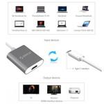 Orico Aluminium Type C Adaptateur HDMI - 4K Ultra HD - pour MacBook Air Mi NoteBook, Huawei Maté Facebook et Lenovo YOGA - Mac Style - 15CM Câble - Gris