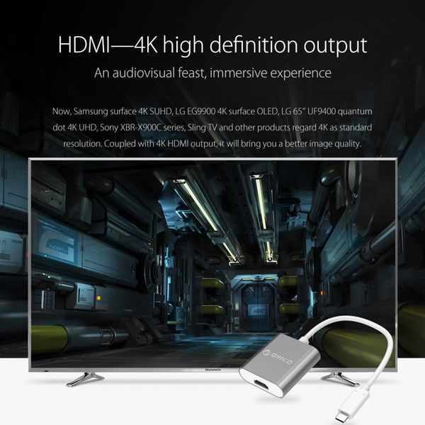 Orico Aluminum Type-C to HDMI Adapter - 4K Ultra HD - for MacBook, Mi NoteBook Air, Huawei MateBook and Lenovo YOGA - Mac Style - 15CM Cable - Gray