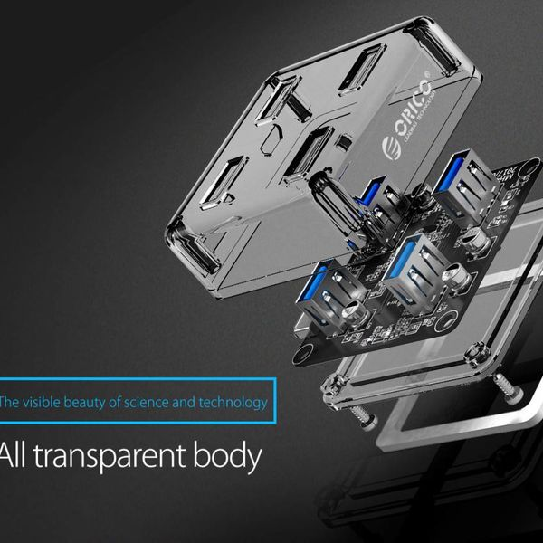 Orico Transparent Hub with 4 USB3.0 type-A ports - 5 Gbps - Special LED indicator - 1M data cable