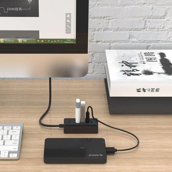 Orico Hub USB 3.0 avec 4 ports USB 3.0 de type A - 5 Gbps - 100cm Câble de données - Fonction OTG - pour Windows, Linux et Mac OS - noir