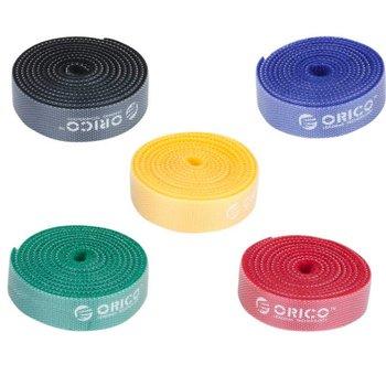 Orico attaches de câbles réutilisables - ensemble multicolore de 5 - 1 m de long