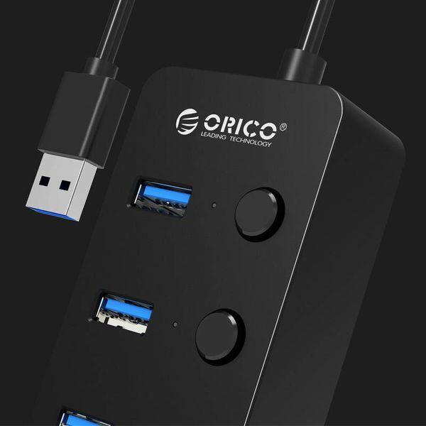 Orico USB3.0-Hub mit vier Typ-A-Anschlüsse - 4x Ein / Aus-Schalter - 4 LED-Anzeigen - 5 Gbps - 30CM USB3.0-Datenkabel - für Windows, Linux und Mac OS - schwarz