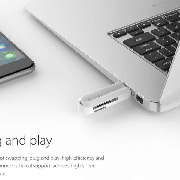 Orico Multifunktions-USB-3.0-Kartenleser für TF und SD-Speicherkarten - USB-Stick 2 TB - OTG-Funktion - 5 Gbps - Weiss