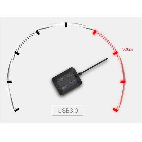 Orico Hub USB 3.0 compact avec quatre ports de type A - 5 Gbps - 100cm USB3.0 Câble - VIA puce - pour Windows, Linux et Mac OS - noir