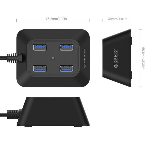 Orico Compact USB3.0 Hub with 4 type-A ports - 5Gbps - 100CM USB3.0 Data cable - VIA chip - for Windows, Linux and Mac OS - Black
