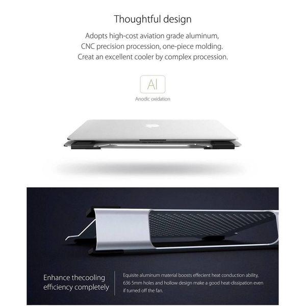Orico Multifunktionale Aluminium Laptop Ständer / Cooling Pad - Wärmeleitung, Kabelmanagement und ergonomische Haltung - für Notebooks bis 15 Zoll - Mac Style - Silber