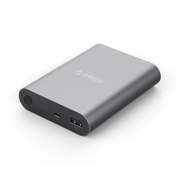 Orico Aluminum Powerbank 10400mAh - Quick Charge 2.0 - LED indicator - Intelligent Chip - 36W - Sky Gray