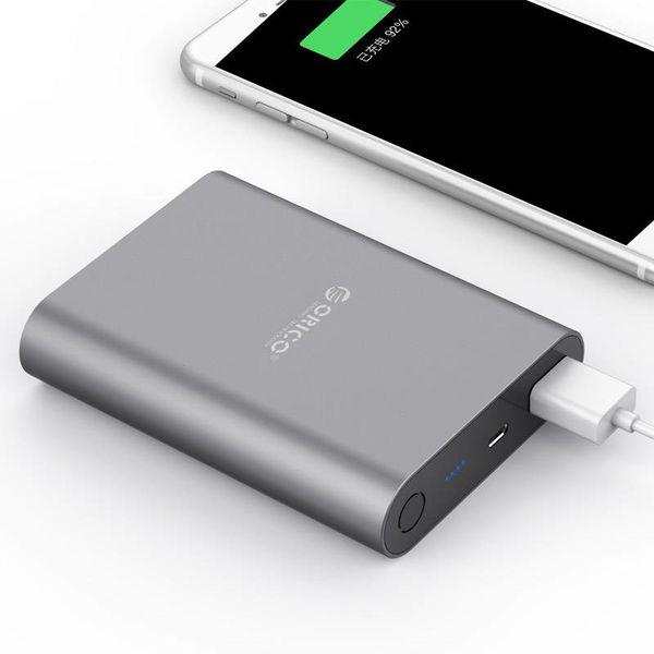 Orico Aluminium-Energien-Bank 10400mAh - Quick Charge 2.0 - LED-Anzeige - Intelligente Chip - 36W - grauer Himmel