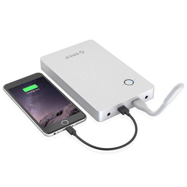 Orico Aluminium 28800mAh Laptop Powerbank - 2x USB-laadpoorten - Li-Po batterij - Incl. connectoren en opzetstekkers - 12V/16V/19V - Zilver