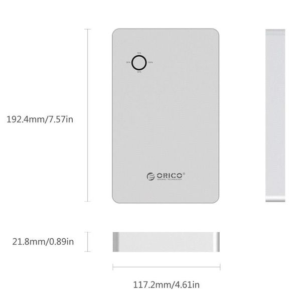 Orico Aluminium 28800mAh Laptop Power Bank - 2x USB Ladeanschlüsse - Li-Po-Akku - Inkl. Steckverbinder und Anschlussstecker - 12V / 16V / 19V - Silber