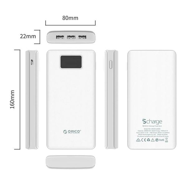 Orico 20.000mAh Powerbank with 3x Smart Charge USB outputs - LiPo Battery - Incl. LED Screen - White