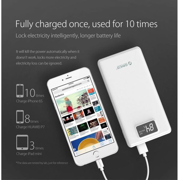 Orico 20.000mAh Powerbank met 3x Smart Charge USB-uitgangen - LiPo Batterij - Incl. LED-Screen - Wit